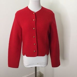 Vintage Tally-ho Red Boiled Wool Cardigan Sweater